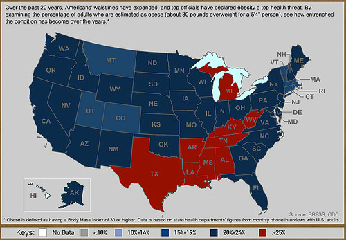 U S Obesity Rates By State